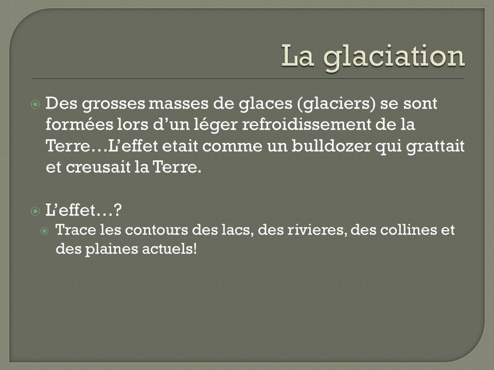 Des grosses masses de glaces (glaciers) se sont formées lors dun léger refroidissement de la Terre…Leffet etait comme un bulldozer qui grattait et cre