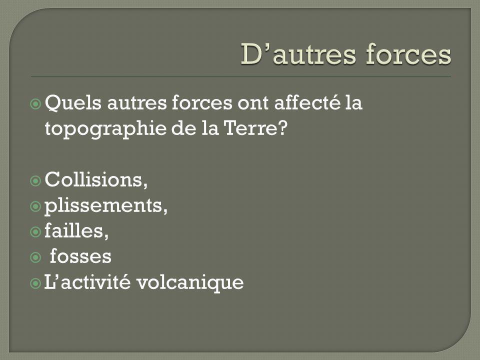 Quels autres forces ont affecté la topographie de la Terre? Collisions, plissements, failles, fosses Lactivité volcanique