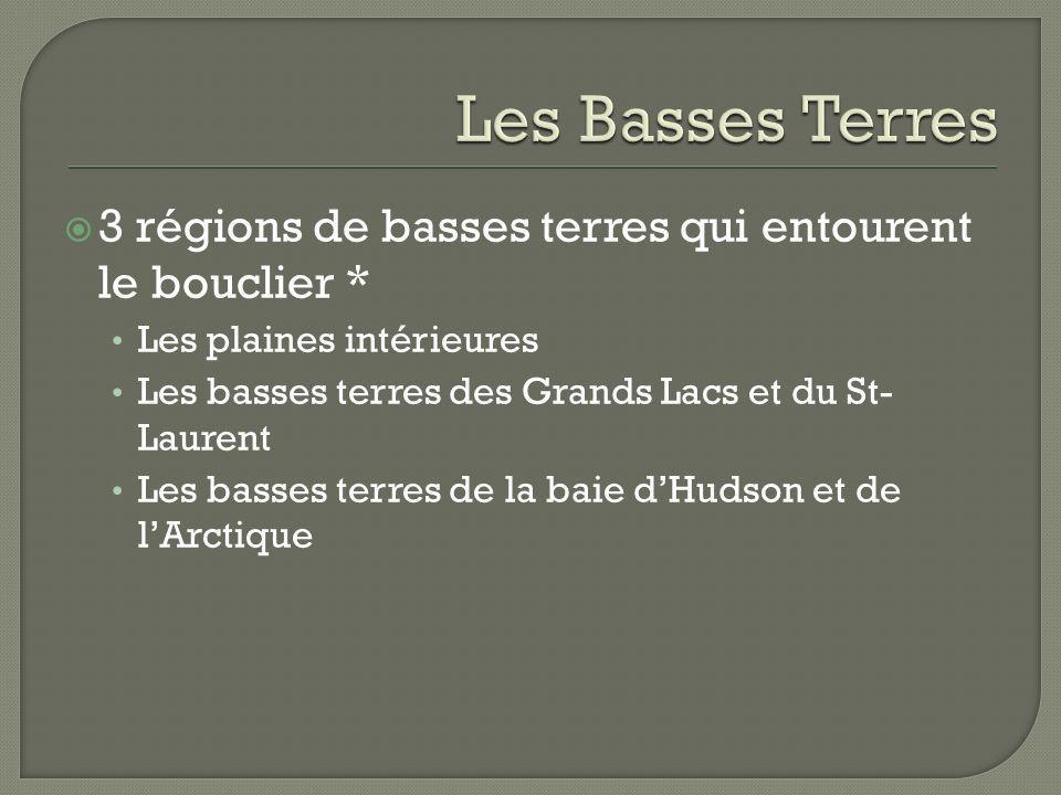 3 régions de basses terres qui entourent le bouclier * Les plaines intérieures Les basses terres des Grands Lacs et du St- Laurent Les basses terres d