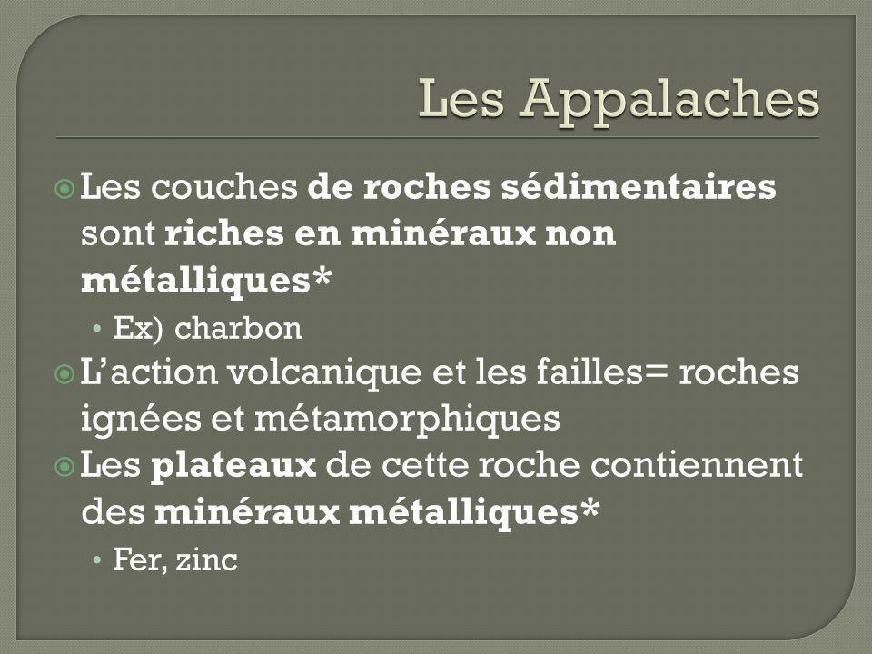 Les couches de roches sédimentaires sont riches en minéraux non métalliques* Ex) charbon Laction volcanique et les failles= roches ignées et métamorph