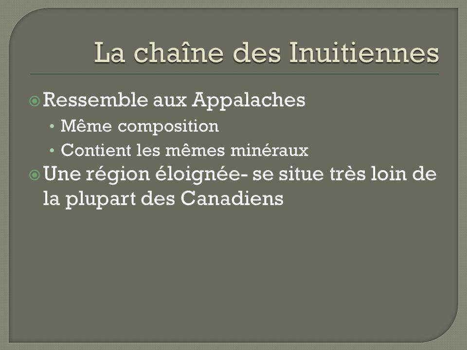 Ressemble aux Appalaches Même composition Contient les mêmes minéraux Une région éloignée- se situe très loin de la plupart des Canadiens