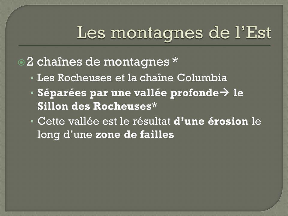 2 chaînes de montagnes * Les Rocheuses et la chaîne Columbia Séparées par une vallée profonde le Sillon des Rocheuses* Cette vallée est le résultat du