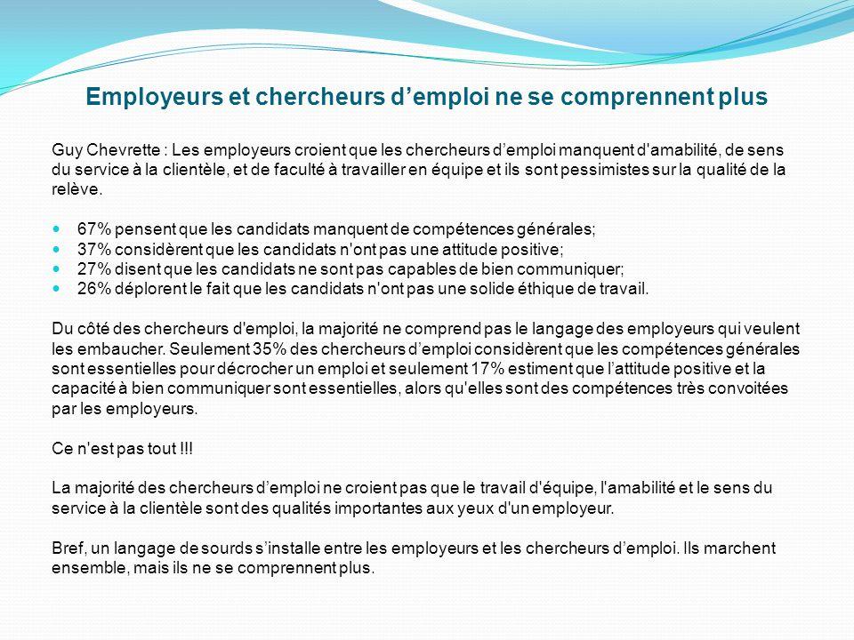 Introduction Comme je le disais, les chercheurs demploi ne savent pas communiquer et ils ont un discours de sourd avec les employeurs qui embauchent.