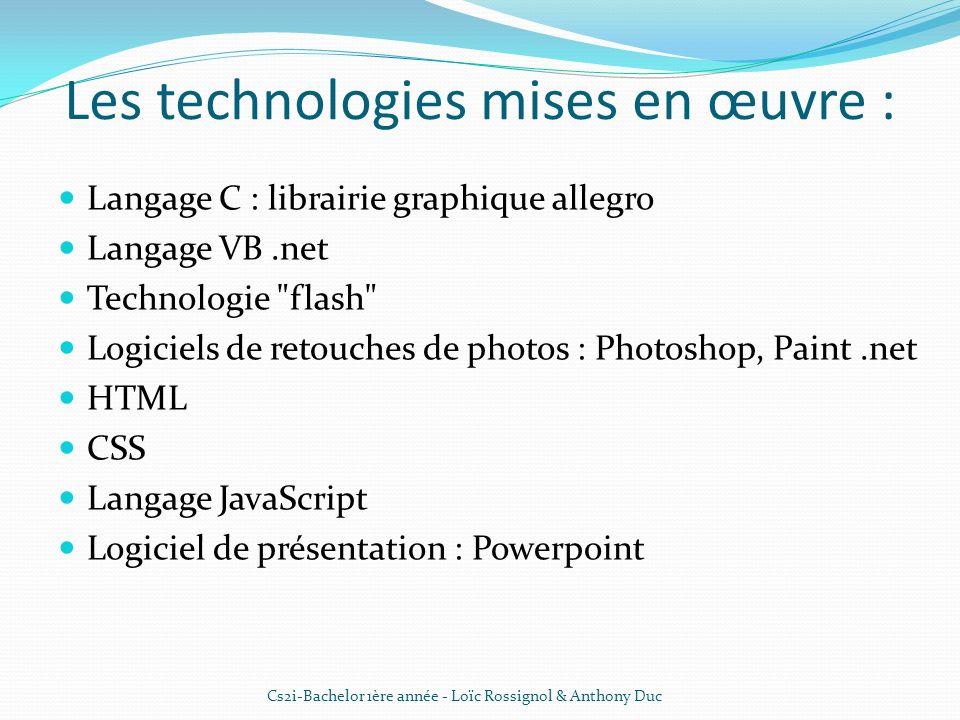 Les technologies mises en œuvre : Langage C : librairie graphique allegro Langage VB.net Technologie