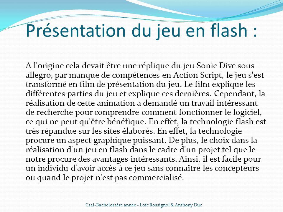 Présentation du jeu en flash : A l'origine cela devait être une réplique du jeu Sonic Dive sous allegro, par manque de compétences en Action Script, l