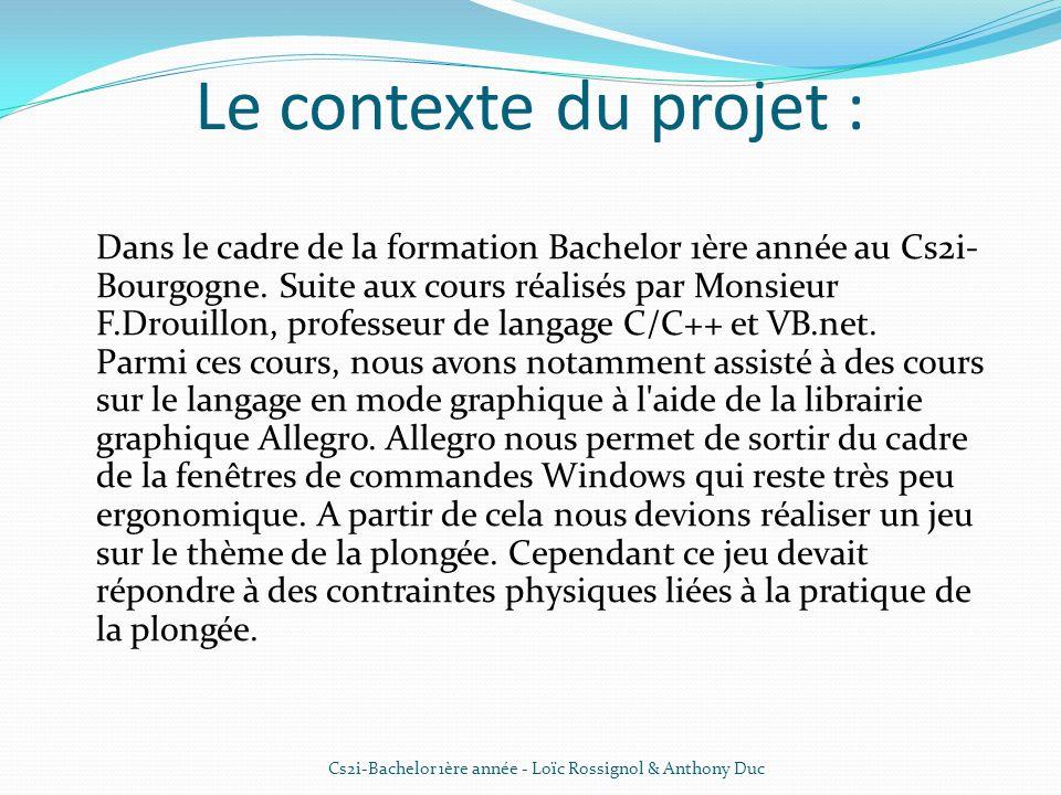 Le contexte du projet : Dans le cadre de la formation Bachelor 1ère année au Cs2i- Bourgogne. Suite aux cours réalisés par Monsieur F.Drouillon, profe