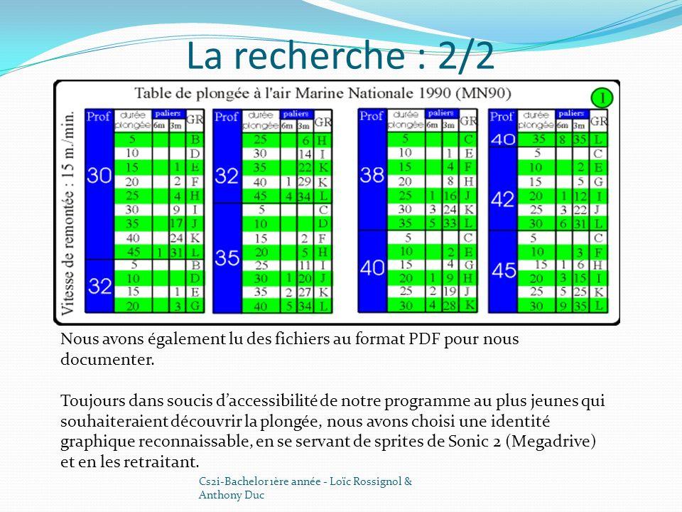 La recherche : 2/2 Cs2i-Bachelor 1ère année - Loïc Rossignol & Anthony Duc Nous avons également lu des fichiers au format PDF pour nous documenter. To