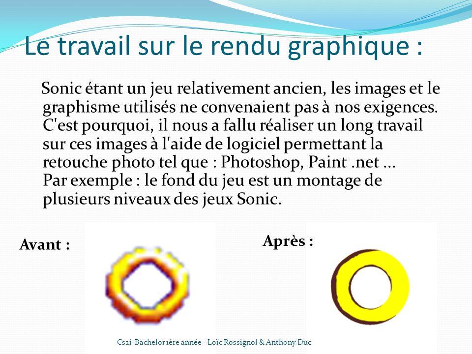 Le travail sur le rendu graphique : Sonic étant un jeu relativement ancien, les images et le graphisme utilisés ne convenaient pas à nos exigences. C'