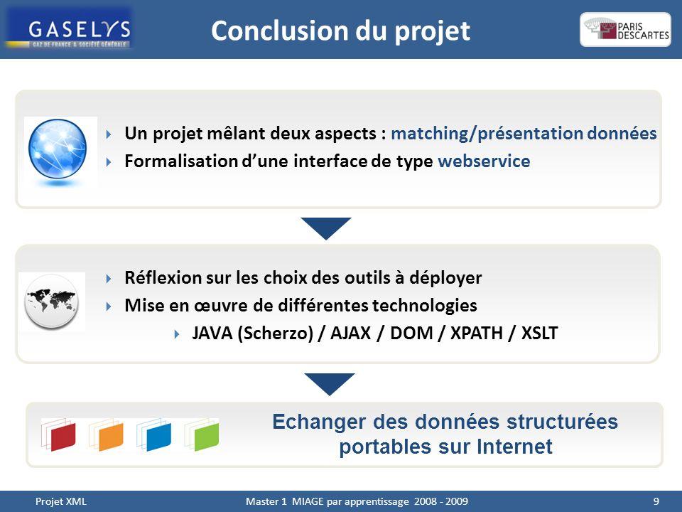 Conclusion du projet 9 Projet XML Master 1 MIAGE par apprentissage 2008 - 2009 Echanger des données structurées portables sur Internet Un projet mêlant deux aspects : matching/présentation données Formalisation dune interface de type webservice Réflexion sur les choix des outils à déployer Mise en œuvre de différentes technologies JAVA (Scherzo) / AJAX / DOM / XPATH / XSLT