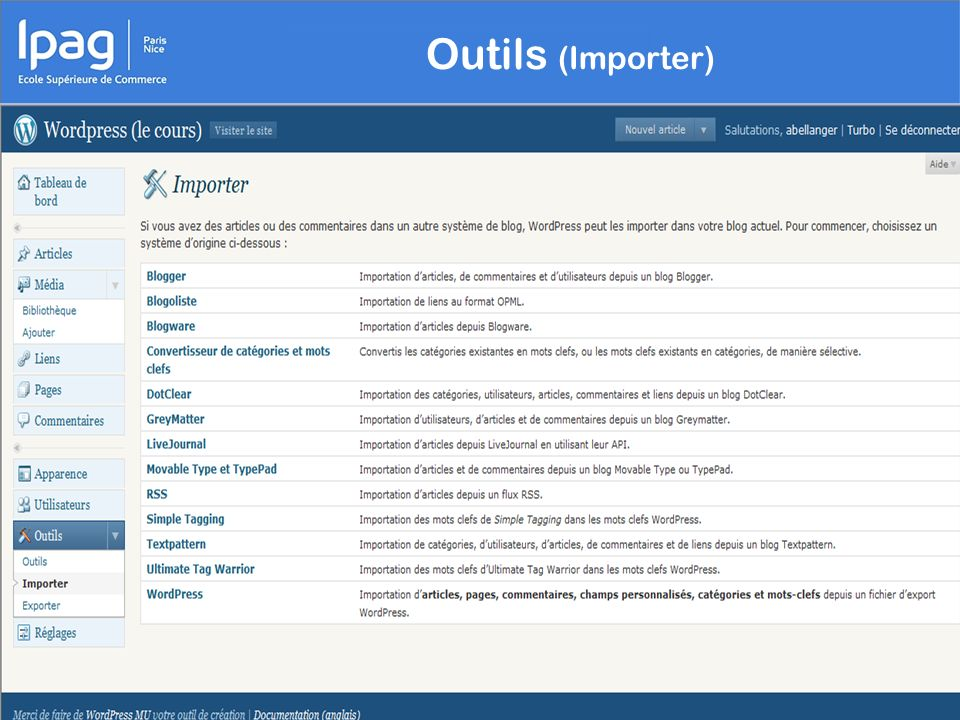 Outils (Importer)