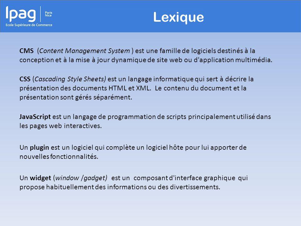 Lexique CMS (Content Management System ) est une famille de logiciels destinés à la conception et à la mise à jour dynamique de site web ou d'applicat