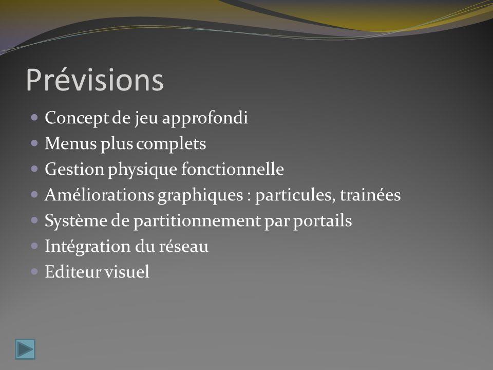Prévisions Concept de jeu approfondi Menus plus complets Gestion physique fonctionnelle Améliorations graphiques : particules, trainées Système de partitionnement par portails Intégration du réseau Editeur visuel