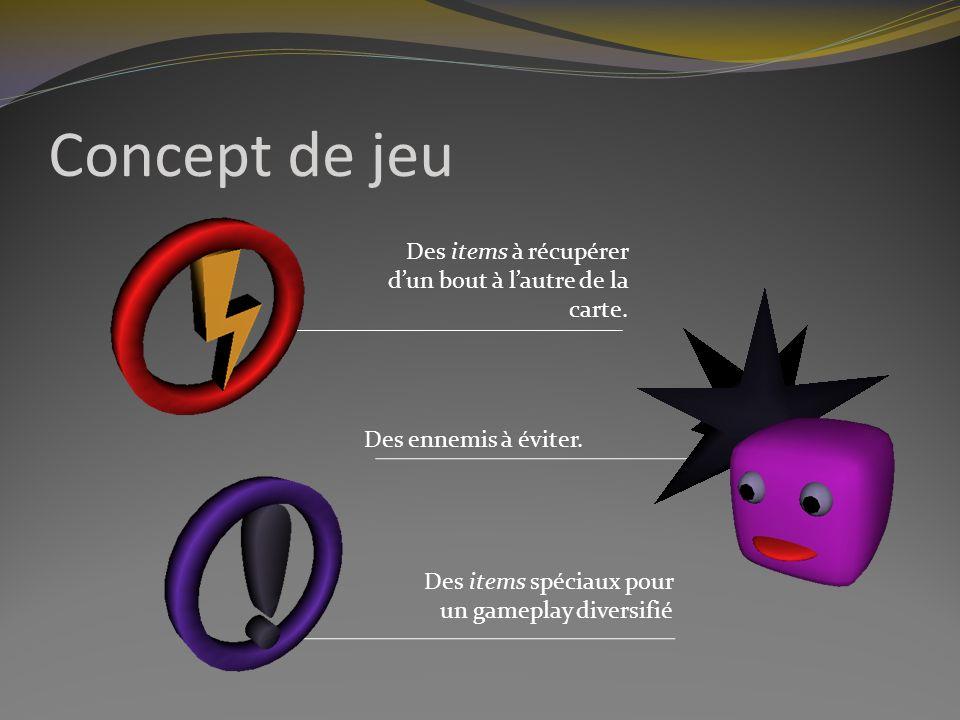 Concept de jeu Des items à récupérer dun bout à lautre de la carte.
