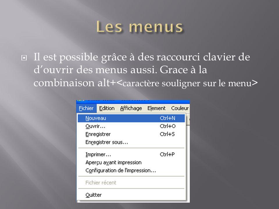 Il est possible grâce à des raccourci clavier de douvrir des menus aussi.