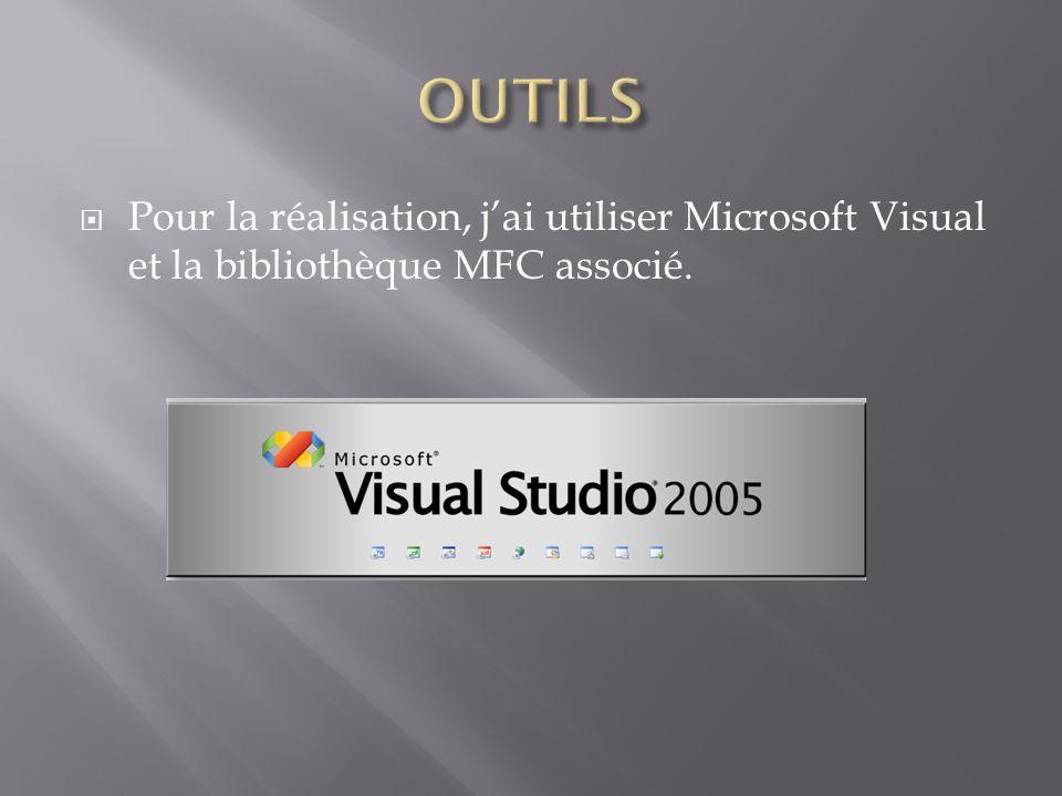 Pour la réalisation, jai utiliser Microsoft Visual et la bibliothèque MFC associé.