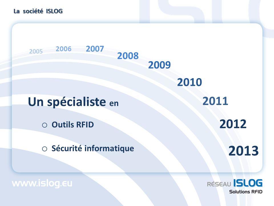 Un spécialiste en o Outils RFID o Sécurité informatique La société ISLOG 2005 2006 2007 2008 2009 2010 2011 2012 2013