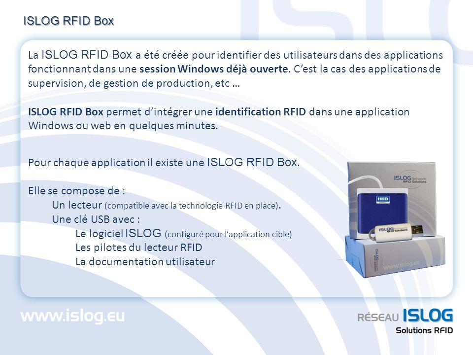 ISLOG RFID Box Pour chaque application il existe une ISLOG RFID Box. Elle se compose de : Un lecteur (compatible avec la technologie RFID en place). U