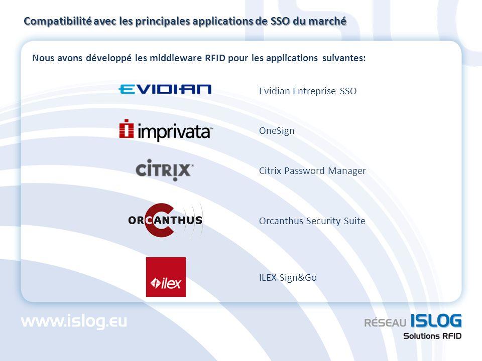 Nous avons développé les middleware RFID pour les applications suivantes: Compatibilité avec les principales applications de SSO du marché ILEX Sign&G