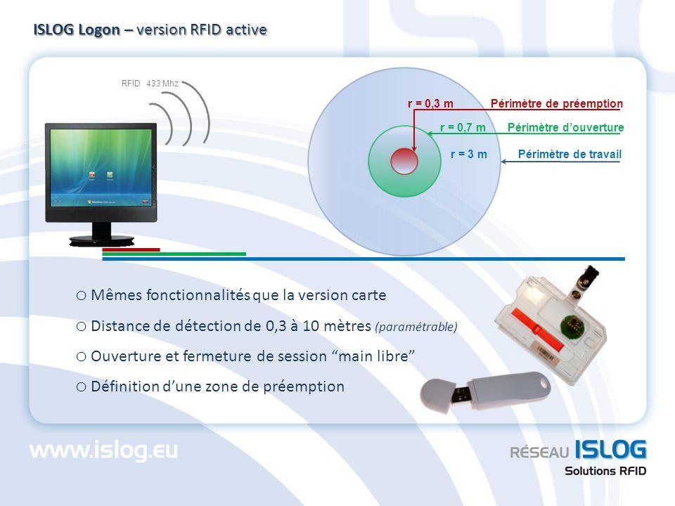 ISLOG Logon – version RFID active o Mêmes fonctionnalités que la version carte o Distance de détection de 0,3 à 10 mètres (paramétrable) o Ouverture e