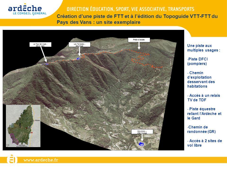Création dune piste de FTT et à lédition du Topoguide VTT-FTT du Pays des Vans : un site exemplaire La Tour de Vigie - décollages Les Taillades - déco