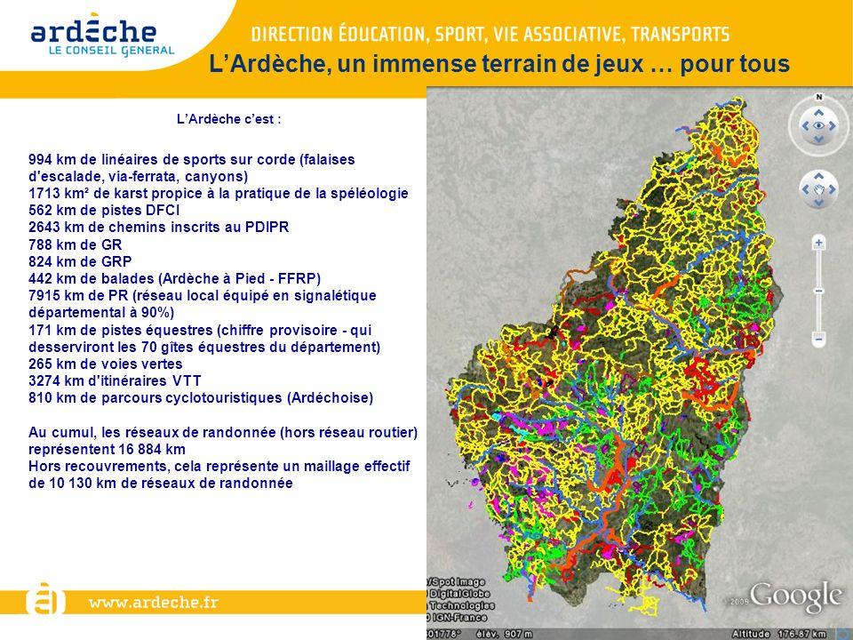 LArdèche cest : 994 km de linéaires de sports sur corde (falaises d'escalade, via-ferrata, canyons) 1713 km² de karst propice à la pratique de la spél