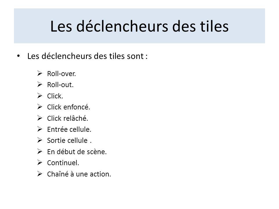 Les déclencheurs des tiles Les déclencheurs des tiles sont : Roll-over. Roll-out. Click. Click enfoncé. Click relâché. Entrée cellule. Sortie cellule.