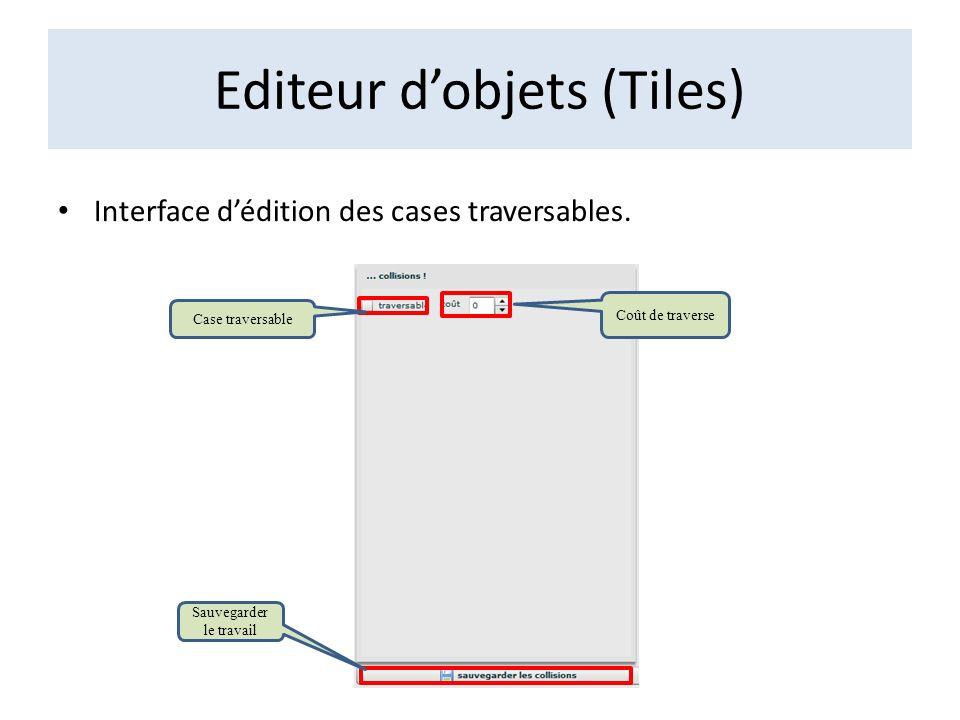 Editeur dobjets (Tiles) Interface dédition des cases traversables. Case traversable Coût de traverse Sauvegarder le travail