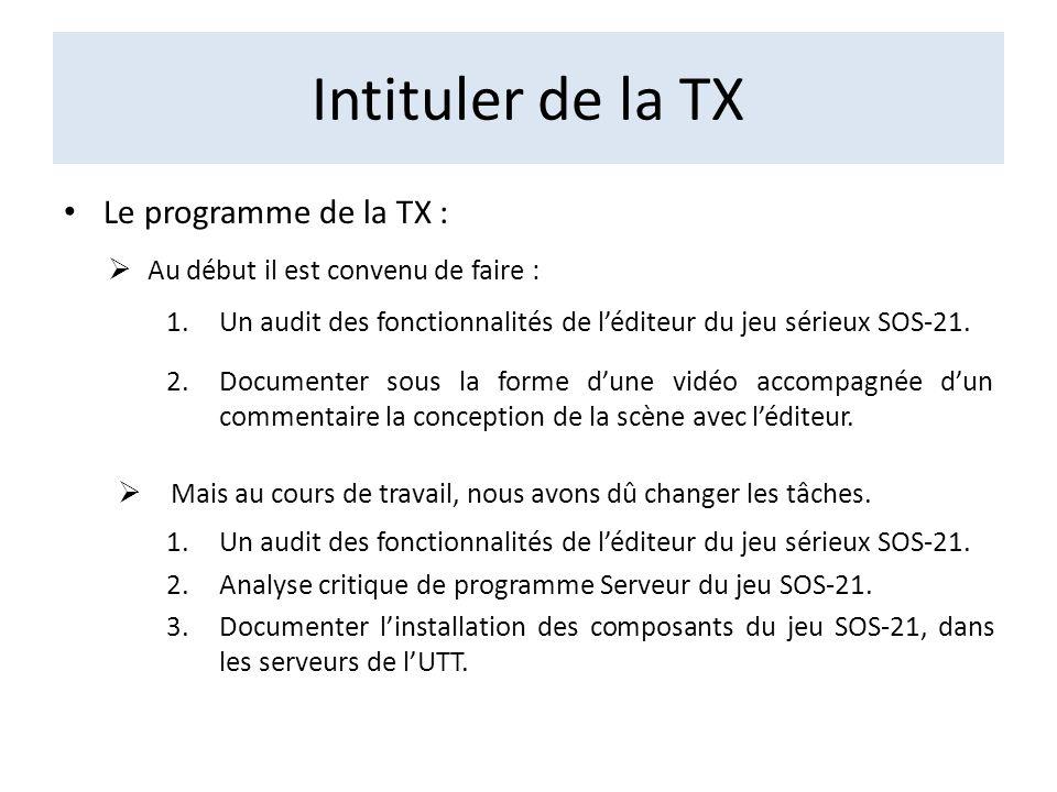 Intituler de la TX Le programme de la TX : Au début il est convenu de faire : 1.Un audit des fonctionnalités de léditeur du jeu sérieux SOS-21. 2.Docu