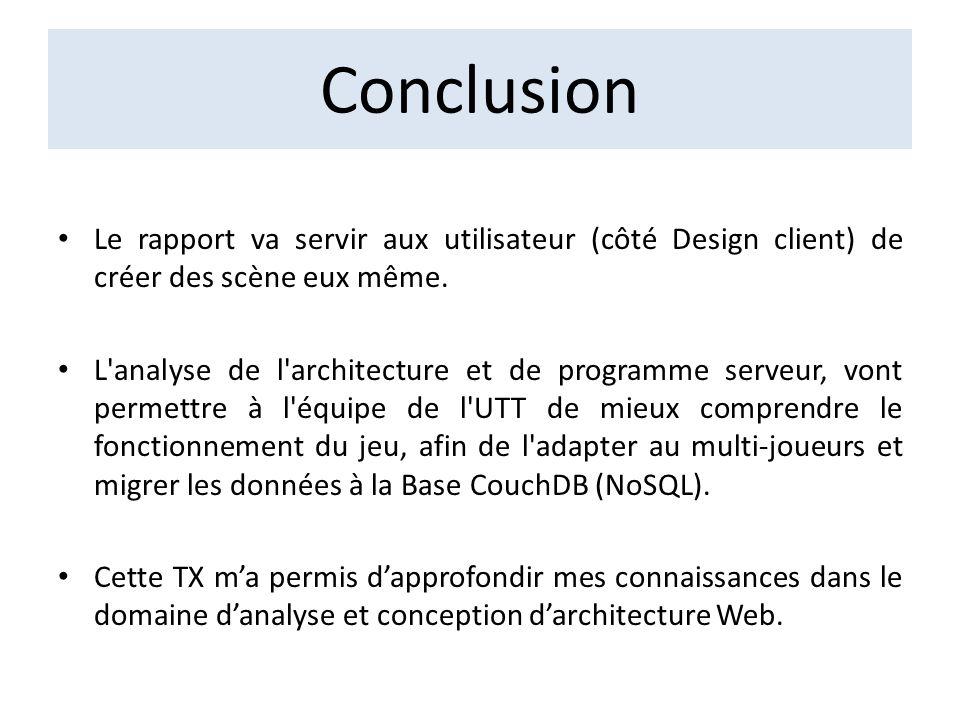 Conclusion Le rapport va servir aux utilisateur (côté Design client) de créer des scène eux même. L'analyse de l'architecture et de programme serveur,
