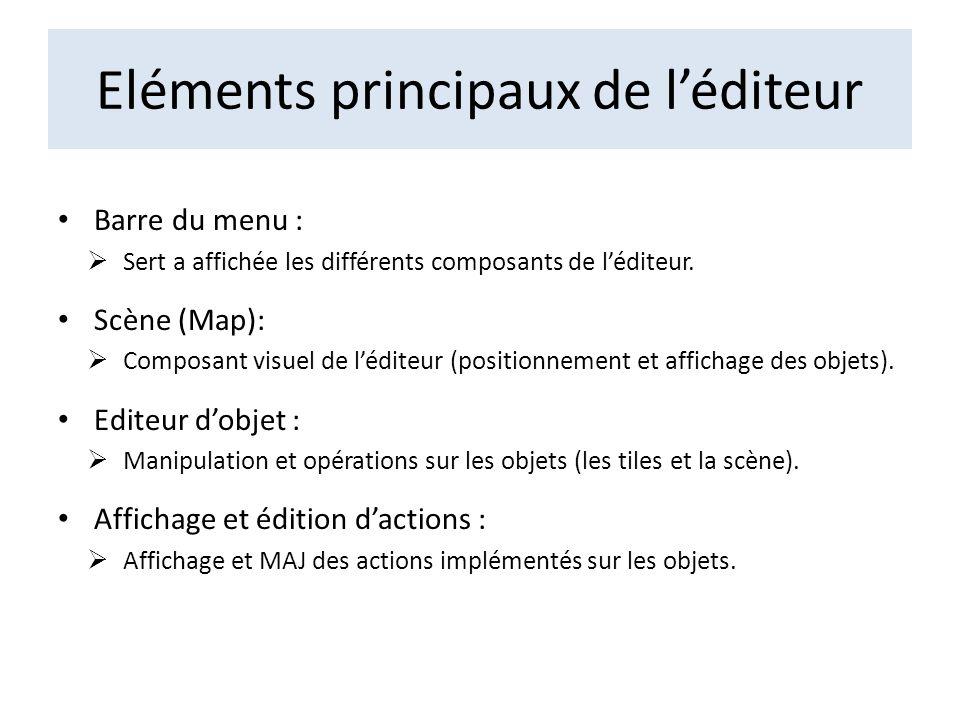 Eléments principaux de léditeur Barre du menu : Sert a affichée les différents composants de léditeur. Scène (Map): Composant visuel de léditeur (posi