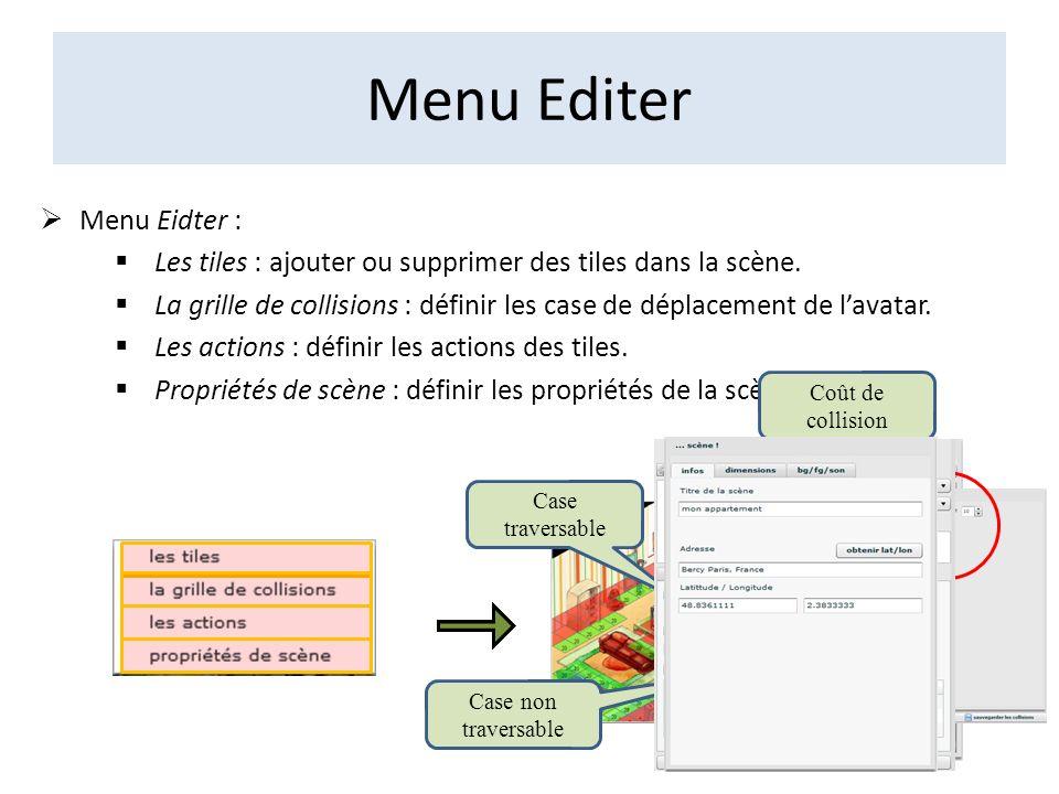 Menu Editer Menu Eidter : Les tiles : ajouter ou supprimer des tiles dans la scène. La grille de collisions : définir les case de déplacement de lavat
