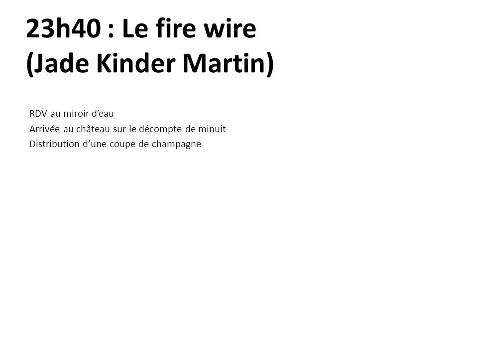 23h40 : Le fire wire (Jade Kinder Martin) RDV au miroir deau Arrivée au château sur le décompte de minuit Distribution dune coupe de champagne