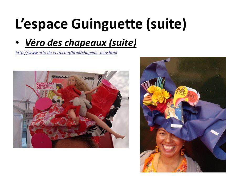 Lespace Guinguette (suite) Véro des chapeaux (suite) http://www.arts-de-vero.com/html/chapeau_mov.html