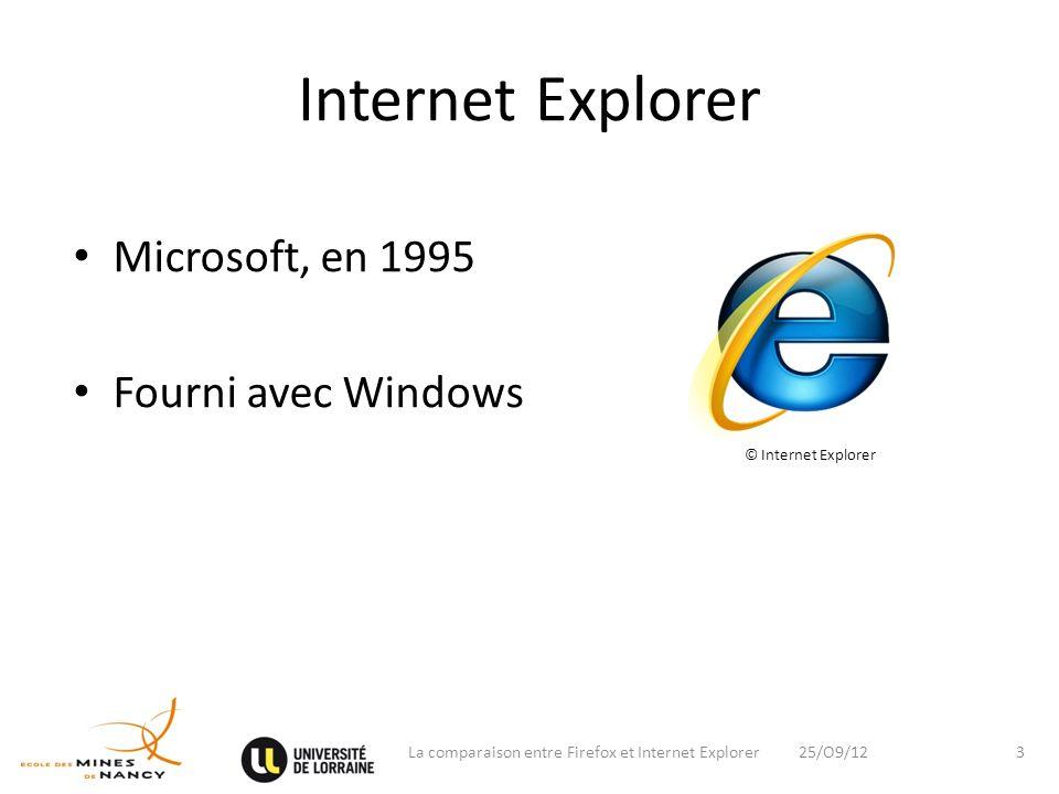 Internet Explorer Microsoft, en 1995 Fourni avec Windows 25/O9/12La comparaison entre Firefox et Internet Explorer3 © Internet Explorer
