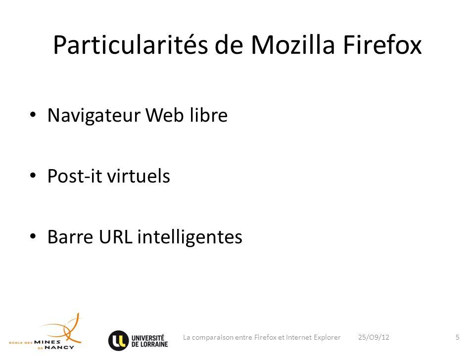 Particularités de Mozilla Firefox Navigateur Web libre Post-it virtuels Barre URL intelligentes 25/O9/12La comparaison entre Firefox et Internet Explo