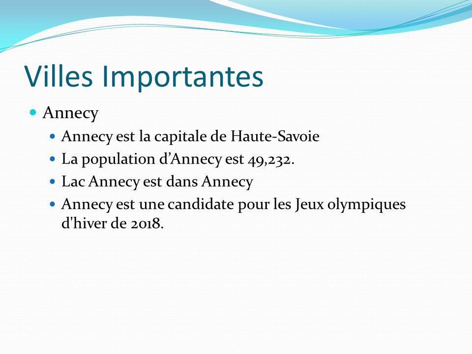 Villes Importantes Annecy Annecy est la capitale de Haute-Savoie La population dAnnecy est 49,232.