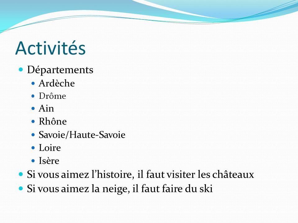 Activités Départements Ardèche Drôme Ain Rhône Savoie/Haute-Savoie Loire Isère Si vous aimez lhistoire, il faut visiter les châteaux Si vous aimez la neige, il faut faire du ski