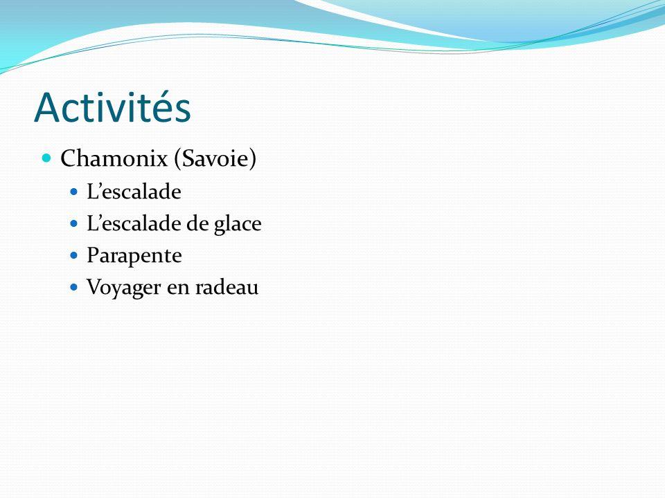 Activités Chamonix (Savoie) Lescalade Lescalade de glace Parapente Voyager en radeau