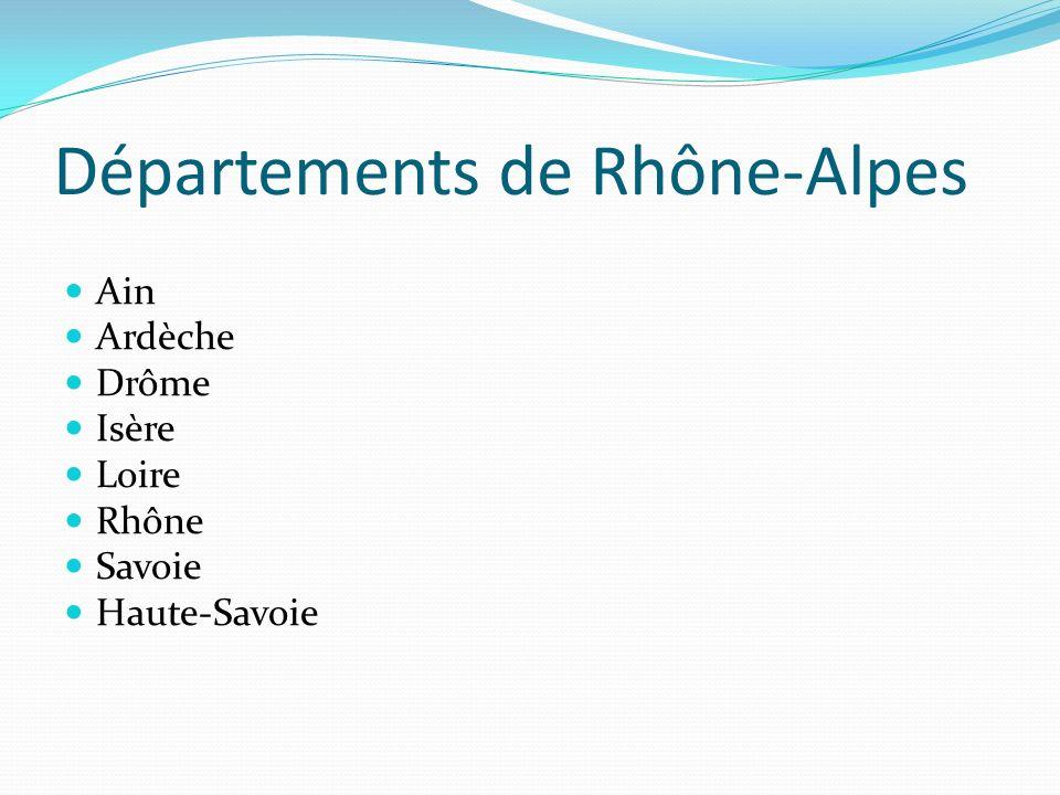 Départements de Rhône-Alpes Ain Ardèche Drôme Isère Loire Rhône Savoie Haute-Savoie