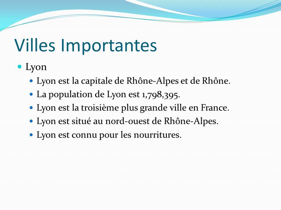 Villes Importantes Lyon Lyon est la capitale de Rhône-Alpes et de Rhône.