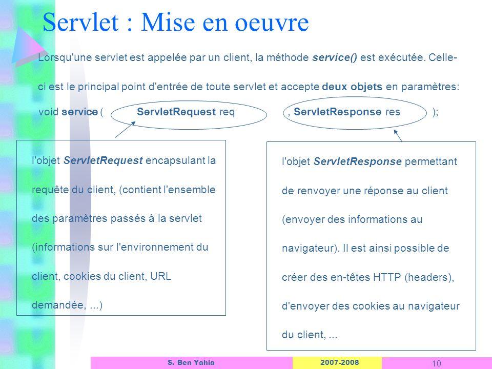 2007-2008 10 S. Ben Yahia Lorsqu'une servlet est appelée par un client, la méthode service() est exécutée. Celle- ci est le principal point d'entrée d