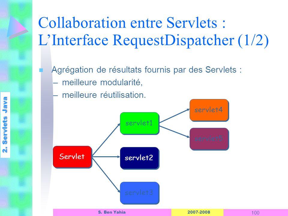2007-2008 100 S. Ben Yahia n Agrégation de résultats fournis par des Servlets : –meilleure modularité, –meilleure réutilisation. 2. Servlets Java Coll