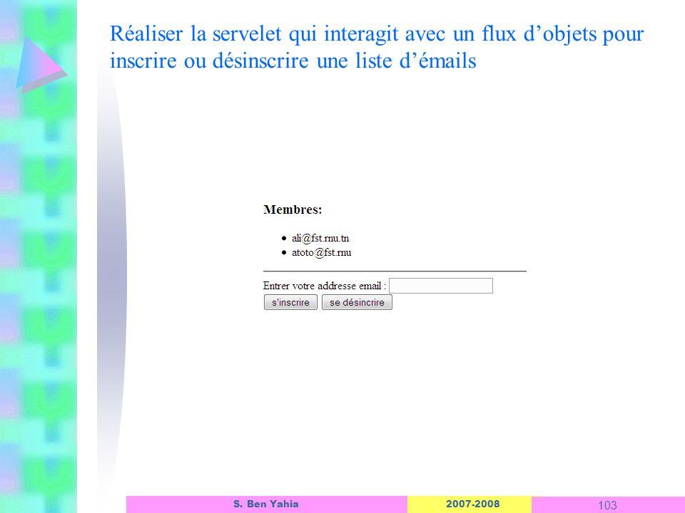 2007-2008 103 S. Ben Yahia Réaliser la servelet qui interagit avec un flux dobjets pour inscrire ou désinscrire une liste démails