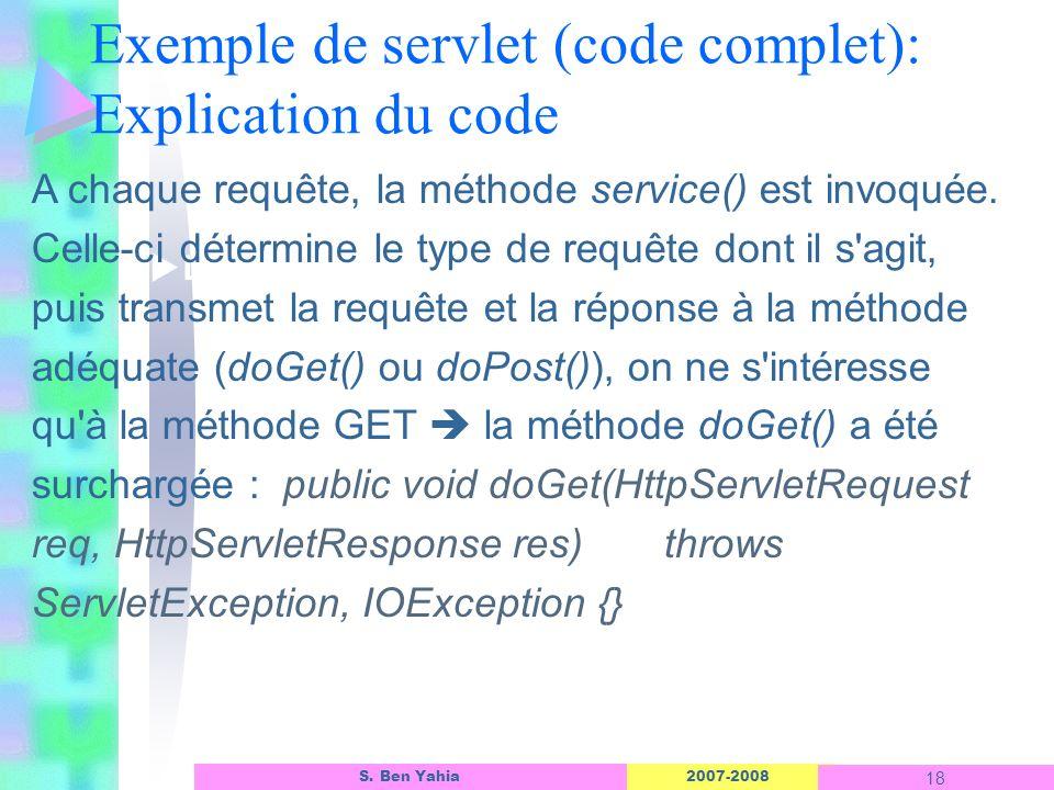 2007-2008 18 S. Ben Yahia Exemple de servlet (code complet): Explication du code Linterface dun objet ASP A chaque requête, la méthode service() est i