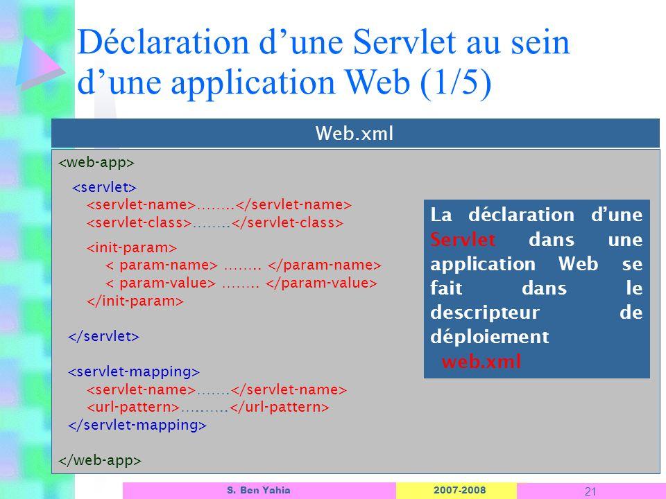 2007-2008 21 S. Ben Yahia …….. …….. ……. …..….. Web.xml Déclaration dune Servlet au sein dune application Web (1/5) La déclaration dune Servlet dans un
