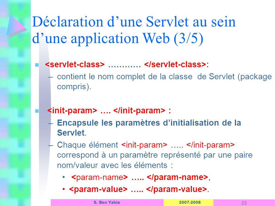 2007-2008 23 S. Ben Yahia n ………… : –contient le nom complet de la classe de Servlet (package compris). n …. : –Encapsule les paramètres dinitialisatio