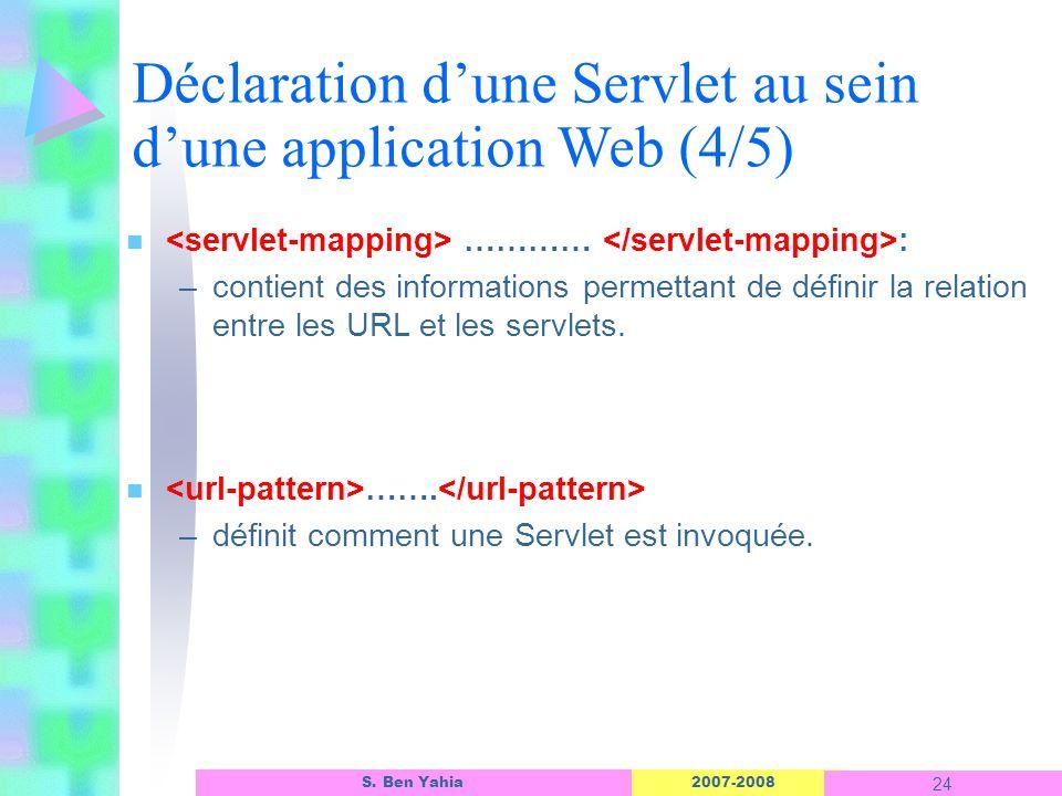 2007-2008 24 S. Ben Yahia n ………… : –contient des informations permettant de définir la relation entre les URL et les servlets. n ……. –définit comment