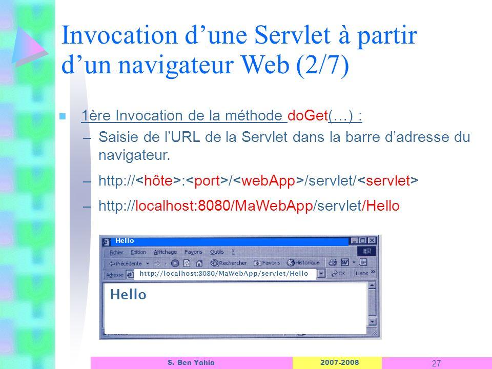 2007-2008 27 S. Ben Yahia n 1ère Invocation de la méthode doGet(…) : –Saisie de lURL de la Servlet dans la barre dadresse du navigateur. –http:// : /