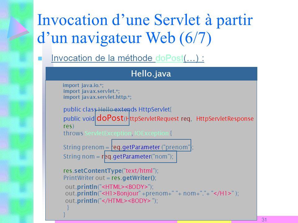 2007-2008 31 S. Ben Yahia n Invocation de la méthode doPost(…) : Invocation dune Servlet à partir dun navigateur Web (6/7) import java.io.*; import ja