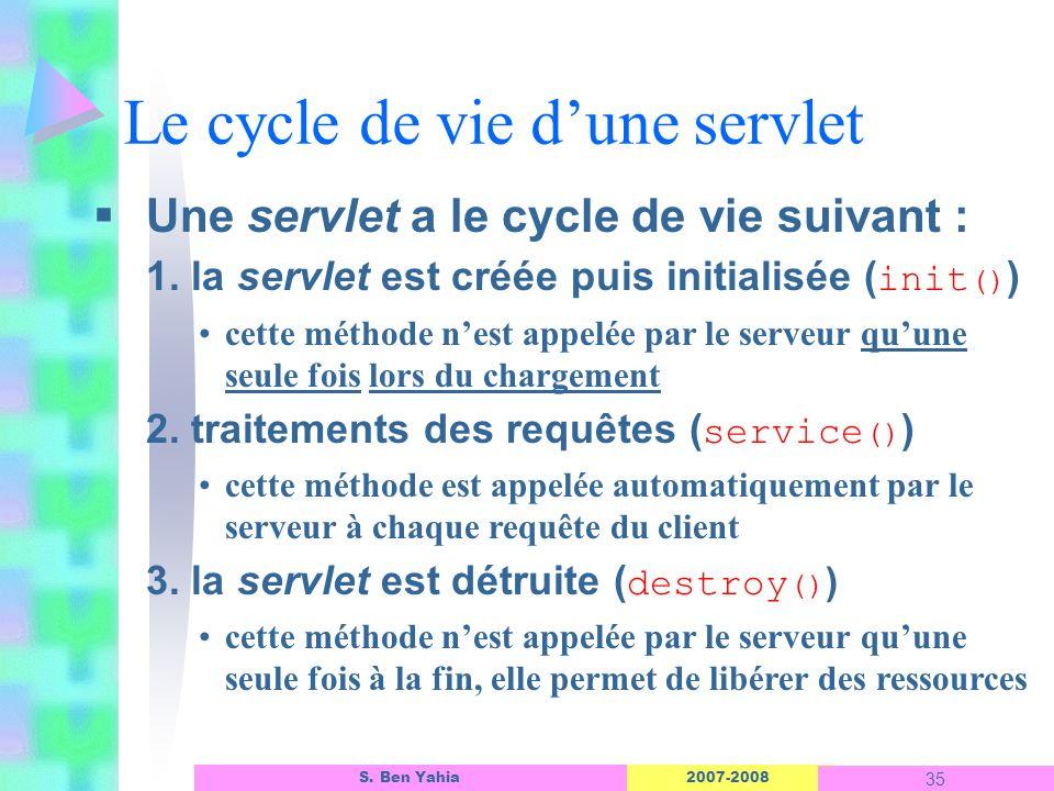 2007-2008 35 S. Ben Yahia Le cycle de vie dune servlet Une servlet a le cycle de vie suivant : 1. la servlet est créée puis initialisée ( init () ) ce